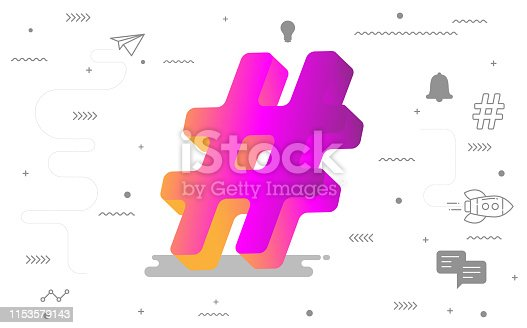 3D Hashtag online social media with digital social icon. vector illustration for graphic design
