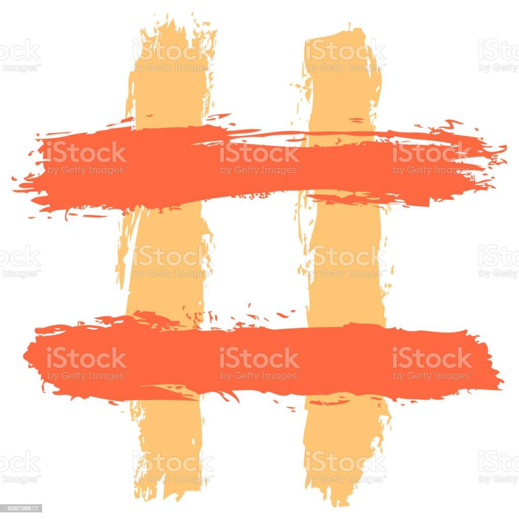 Hashtag or number sign or tic-tac-toe grid vector art illustration
