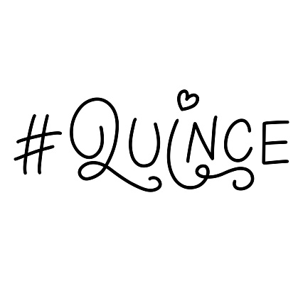 Hashtag Quince - fifteen in Spanish, black vector illustration isolated on white background. Lettering for Quinceanera party. Teenager girl birthday celebration calligraphy.