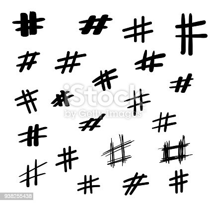 Hashtag Signs Set Modern Social Symbols Isolated On A White