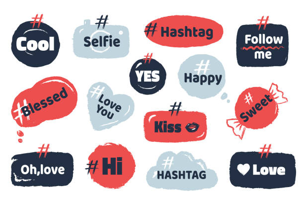Hashtag social banner. Media slang doodle logos with speech bubbles modern social quotes. Vector internet blog trends concept vector art illustration