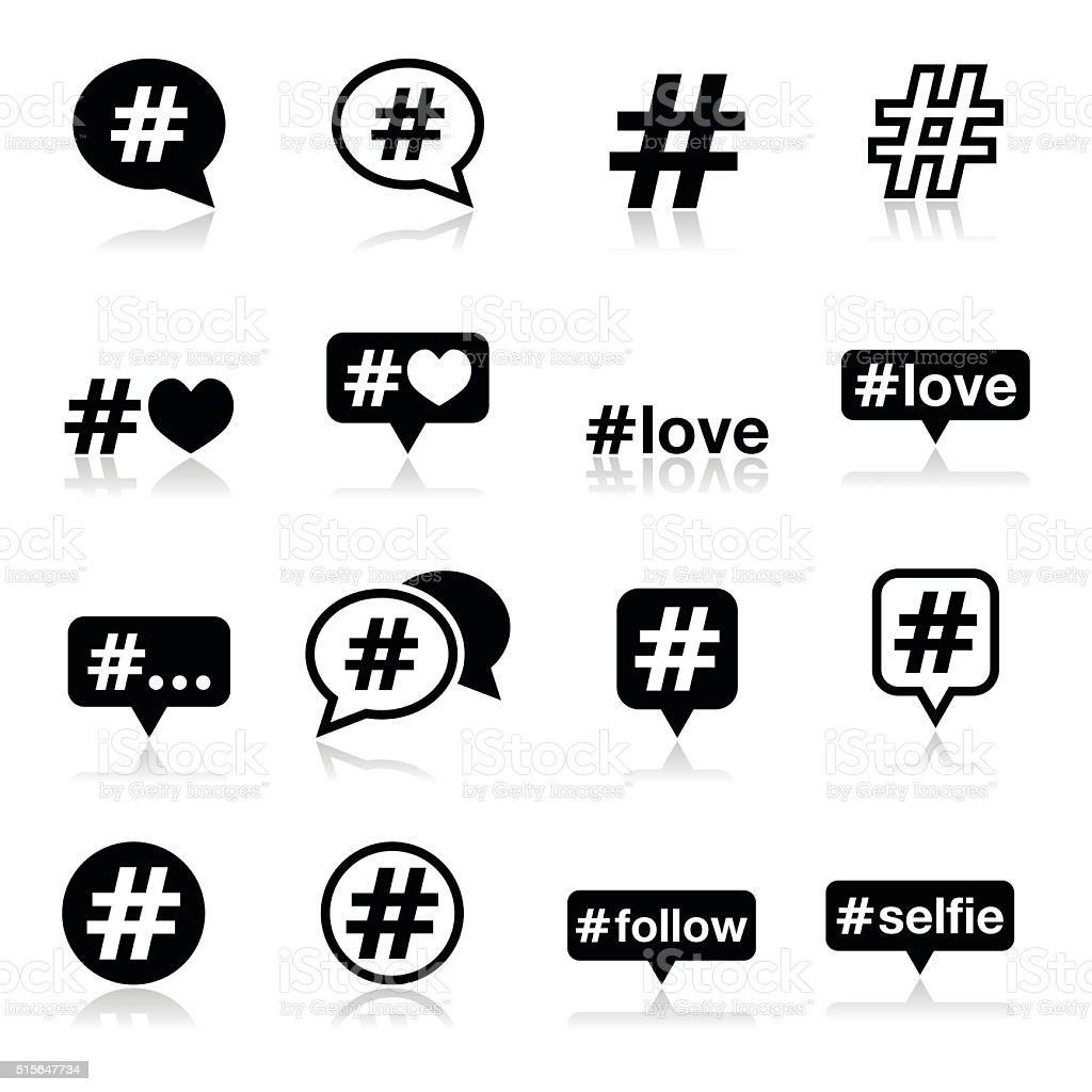 Hashtag, social media icons set vector art illustration