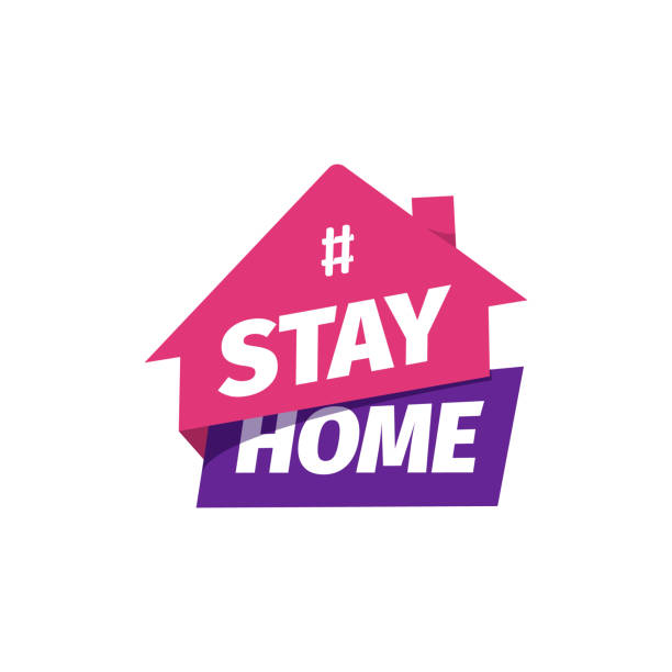 Hashtag Stay at home vector icon. Self isolation flat sticker. Quarantine sign. Hashtag Stay at home vector icon. Self isolation flat sticker. Quarantine sign illness prevention stock illustrations