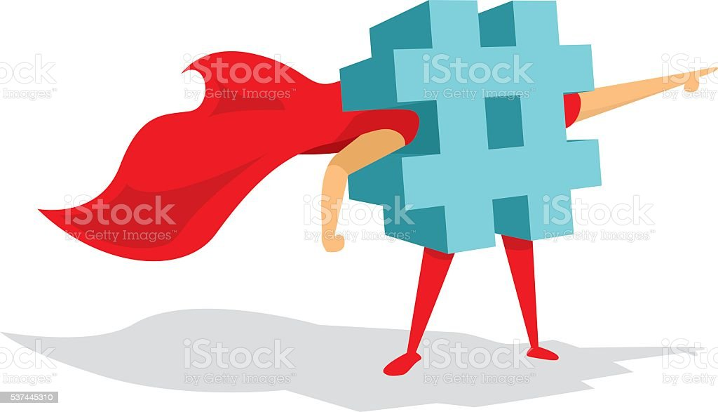 Hashtag super hero or trending topic with cape vector art illustration