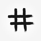 Hashtag symbol drawn by hand with rough brush. Isolated icon, sign, . Grunge, graffiti, sketch, watercolor, paint.