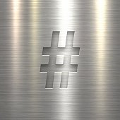 Hashtag # - Symbol on Metal Texture Background
