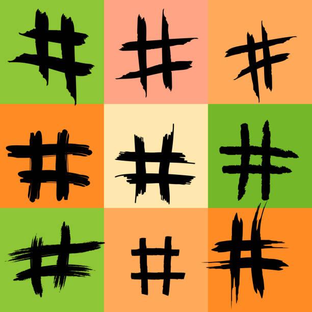 雜湊符號模式, 雜湊標籤, 多彩背景, 插圖, grunge 紋理, 互聯網概念, instagram, twitter, 社交媒體, 概念, 創造力, 數位行銷, 線上點擊 - twitter 幅插畫檔、美工圖案、卡通及圖標