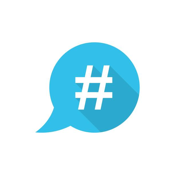 hashtag vector icon in flat style. social media marketing illustration on white isolated background. hashtag network concept. - whatsapp stock illustrations