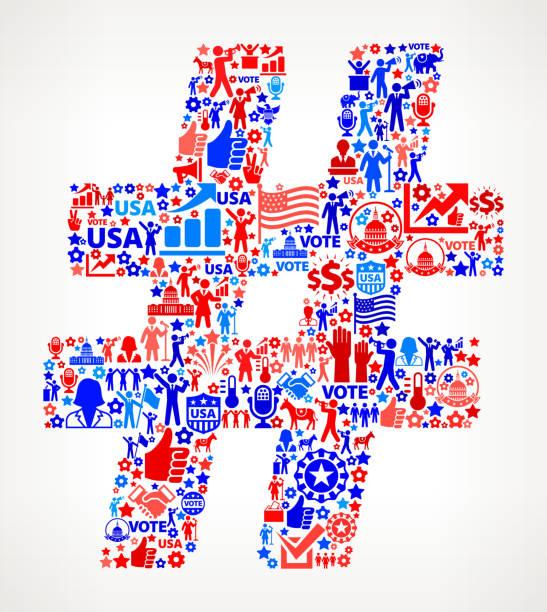 хэштег голосования и выборы сша отечественной значок рисунком - presidential debate stock illustrations
