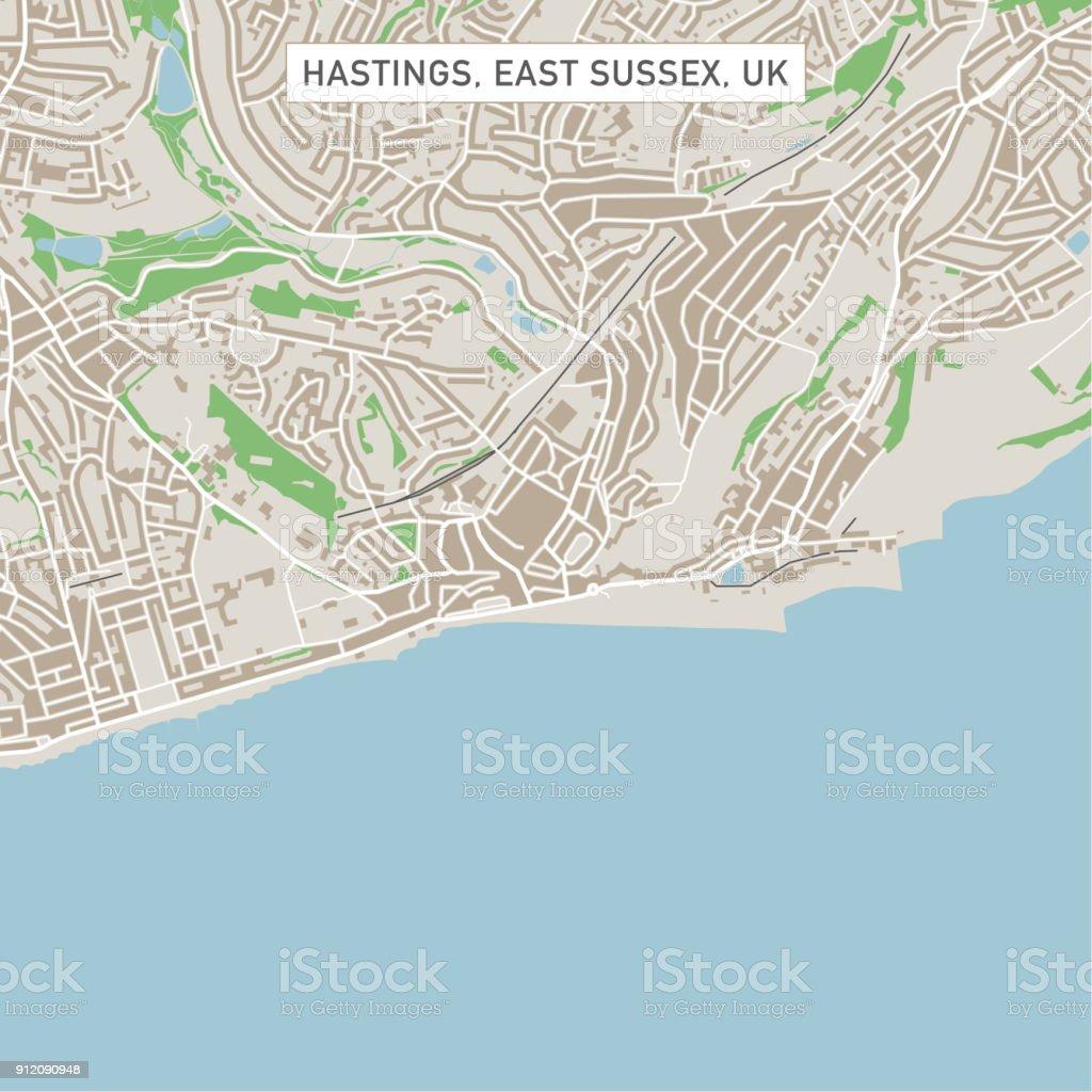 Hastings East Sussex UK City Street Map vector art illustration