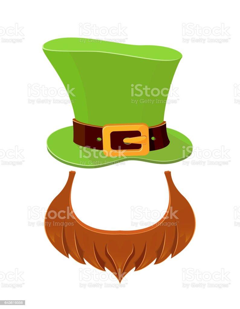 Hat and beard leprechaun vector art illustration