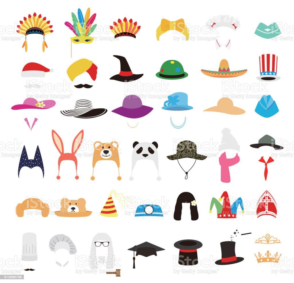 hat and cap icon set, vector illustration vector art illustration