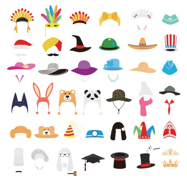 illustrazioni stock, clip art, cartoni animati e icone di tendenza di hat and cap icon set, vector illustration - piume colorate