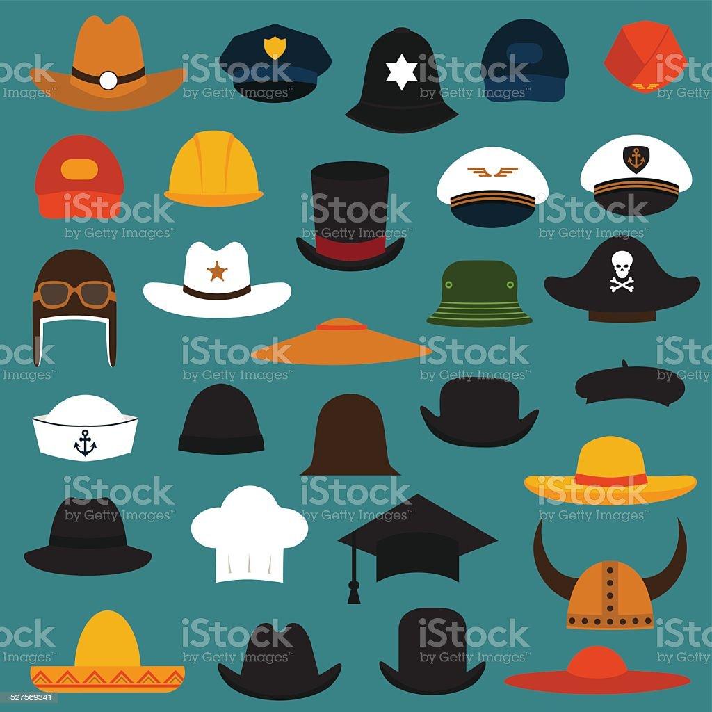 Chapéu e boné - ilustração de arte em vetor