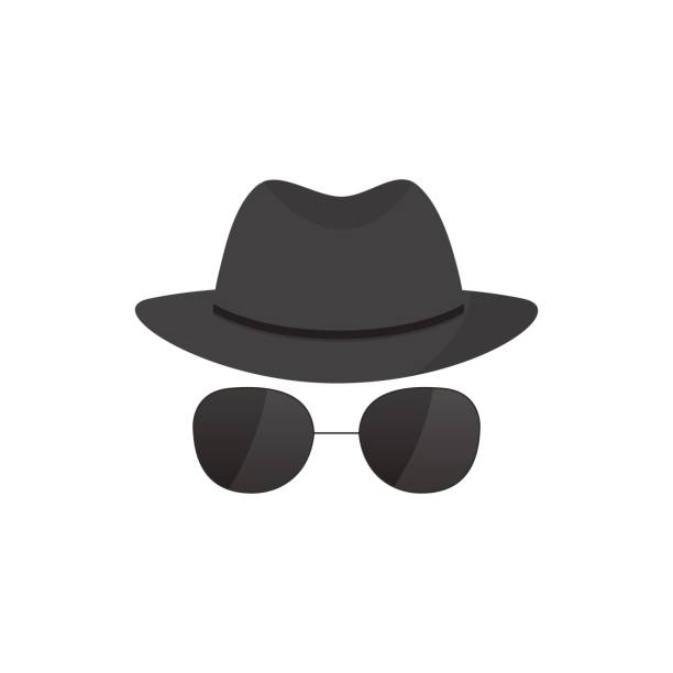 hat and glasses - gangster stock illustrations, clip art, cartoons, & icons
