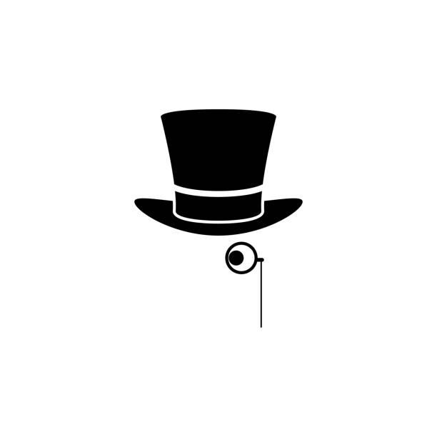 icono del sombrero y el monóculo. Elemento de teatro y arte de la  ilustración. 83978ddf6e2