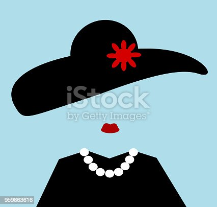 woman wearing hat and pearls