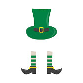 Hat and shoes. Element for St. Patrick s Day. Cartoon illustration for pub invitation, t-shirt design, cards or decor