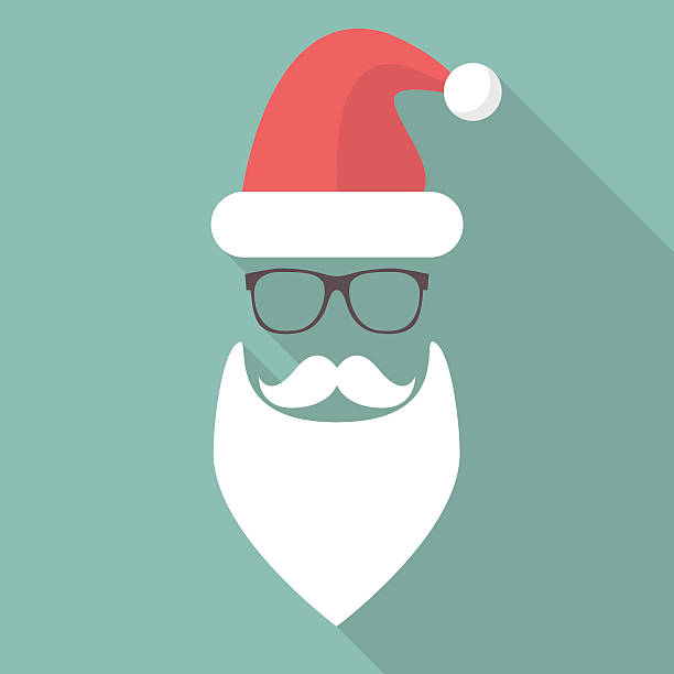 hat, beard, mustache and glasses of santa - old man long beard silhouettes stock illustrations, clip art, cartoons, & icons