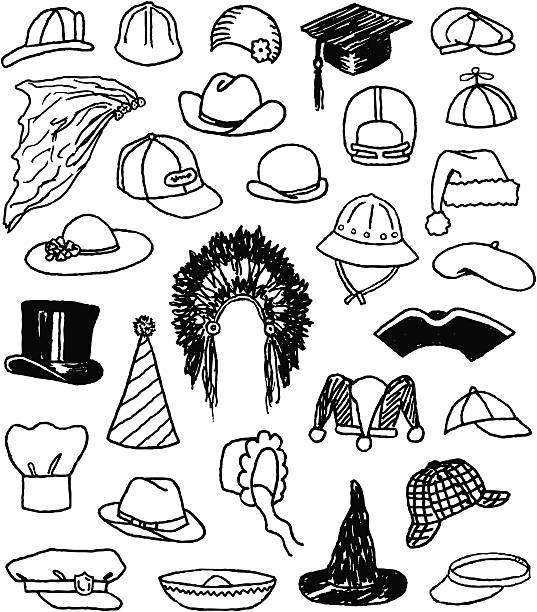 Hat Doodles A variety of doodled hats. deerstalker hat stock illustrations