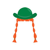Hat , ginge pigtail. Element for St. Patrick s Day. Cartoon illustration for pub invitation, t-shirt design, cards or decor