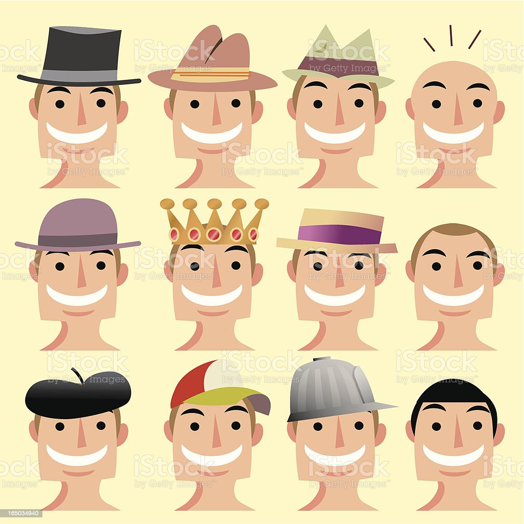 Hat heads vector art illustration