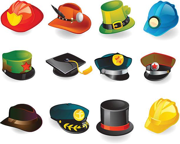 hut & helm symbole - matrosenmütze stock-grafiken, -clipart, -cartoons und -symbole
