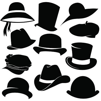 Hat icon set isolated on white background.