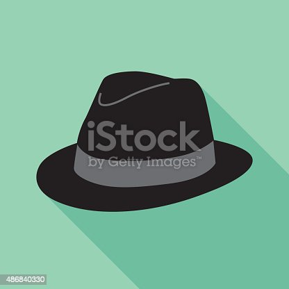 Vector illustration of a black hat with shadow on a square light teal background,