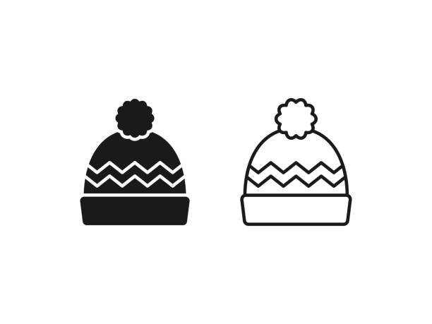 Hat icon. Vector illustration. Linear, outline, flat design. Winter hat icon. Vector in simple flat design, outline. Knit wool beanie with pompom isolated on white background. Illustration for graphic, web, logo, app, UI. Outerwear symbol. knit hat stock illustrations