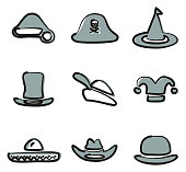 Hat Icons Set 2 Freehand 2 Color