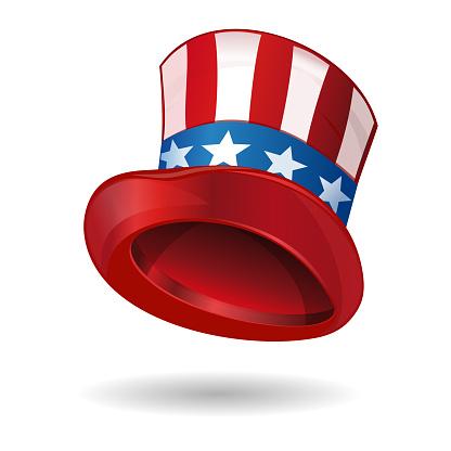Hat in American flag color. Uncle Sams hat