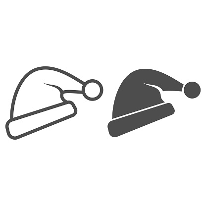 Hat of Santa Claus line and solid icon, New Year concept, Christmas cap sign on white background, Santa hat icon in outline style for mobile concept and web design. Vector graphics.