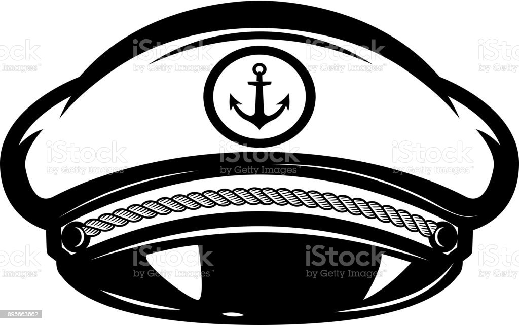 Hat of sea captain isolated on white background. Design elements for label, emblem, sign. vector art illustration
