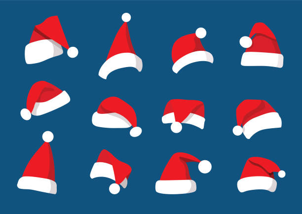 stockillustraties, clipart, cartoons en iconen met hoed santa kerst set decoraties en ontwerp geïsoleerd op blauwe achtergrond illustratie vector - kerstmanhoed