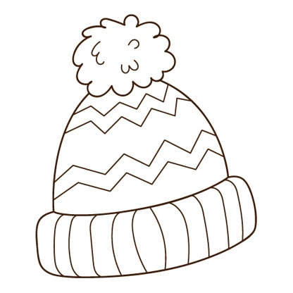 hat with a pompom. Autumn and winter clothing. Design element with outline. The theme of winter, autumn. Doodle, hand-drawn. Black white vector illustration. Isolated on a white background.