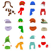 A hat with a scarf, a large set of hats with scarves. Santa's hat.