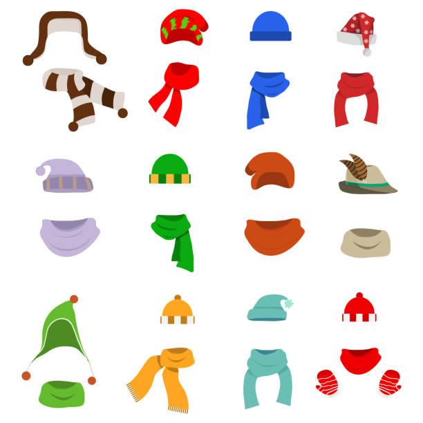 ein hut mit einem schal, einer großen anzahl von hüte mit schals. weihnachtsmütze. - schals stock-grafiken, -clipart, -cartoons und -symbole