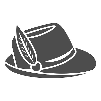 Hat with feather solid icon, Oktoberfest concept, Oktoberfest hat sign on white background, german hunting cap with feather and rope icon in glyph style for mobile and web. Vector graphics