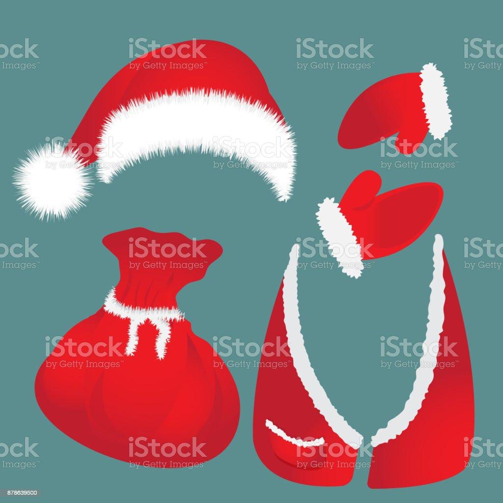 Hat with pompon, bag, waistcoat, Santa Claus gloves. vector art illustration