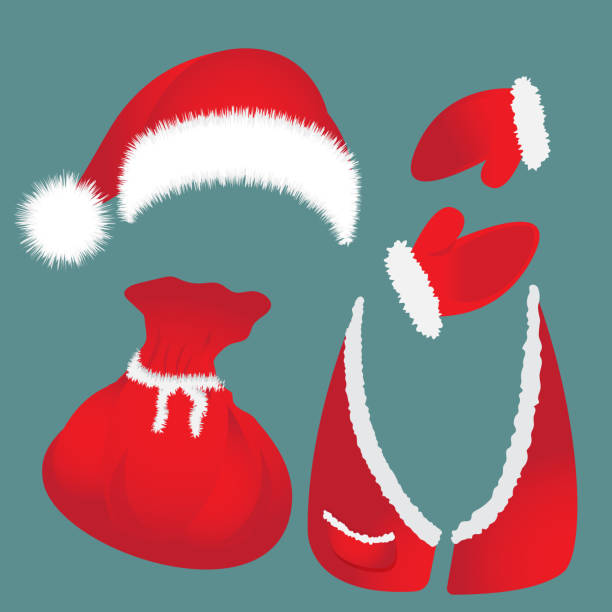 mütze mit pompon, tasche, weste, weihnachtsmann handschuhe. - hauben stock-grafiken, -clipart, -cartoons und -symbole
