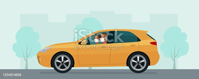 istock Hatchback car with a young man and woman in a medical mask driving on a background of abstract cityscape. Vector flat style illustration. 1224314323