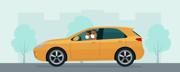 Hatchback car with a young man and woman in a medical mask driving on a background of abstract cityscape. Vector flat style illustration. vector art illustration