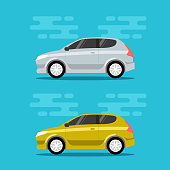 Hatchback cars in flat color style. City mini vehicle transportation icons. Vector illustrations.