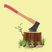 Hatchet in a tree stump