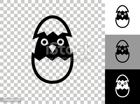 Hatching Bird Icon on Checkerboard Transparent Background. This 100% royalty free vector illustration is featuring the icon on a checkerboard pattern transparent background. There are 3 additional color variations on the right..