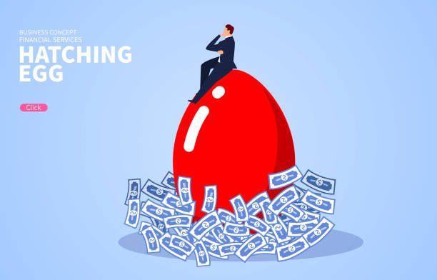 Hatching, businessman hatching eggs on a pile of money Hatching, businessman hatching eggs on a pile of money nest egg stock illustrations