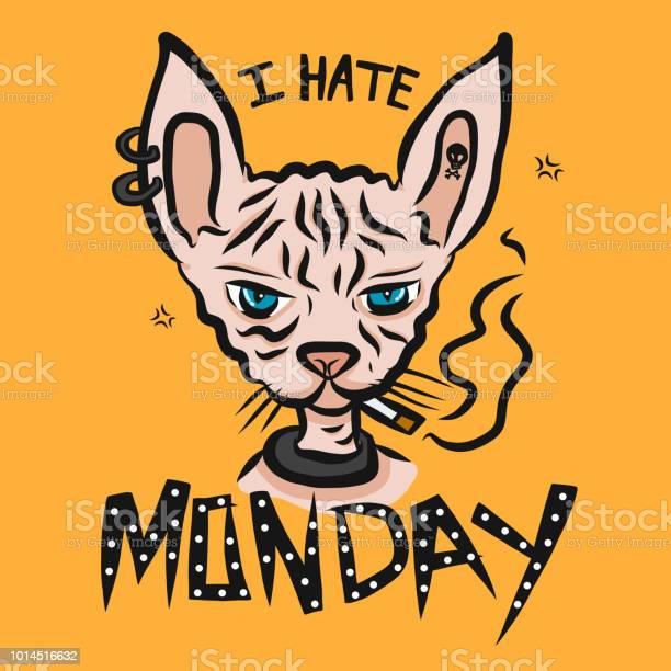 Hate monday sphynx cat smoking cigarette cartoon vector illustration vector id1014516632?b=1&k=6&m=1014516632&s=612x612&h=ig6dmuekqmac44dkokjx705ocftzvnxwi0q9nhmt5ui=