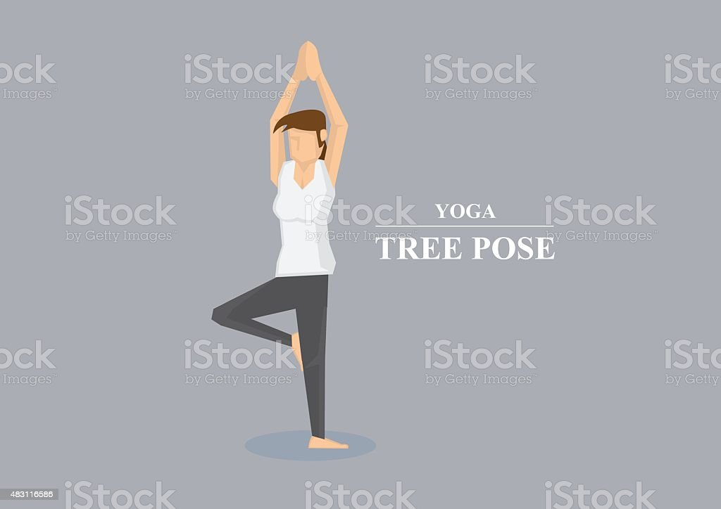 Hatha Yoga Asana Tree Pose Vector Illustration vector art illustration