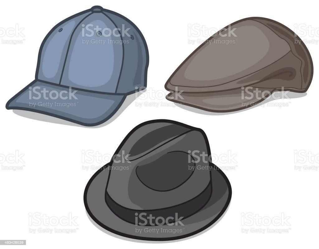 Hats and Caps vector art illustration